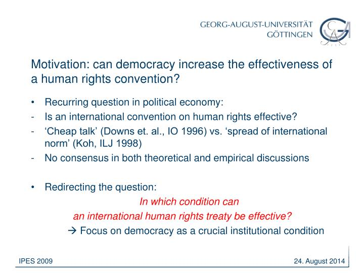 Motivation can democracy increase the effectiveness of a human rights convention