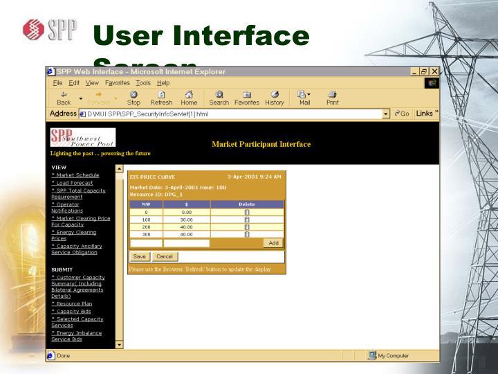 User Interface Screen