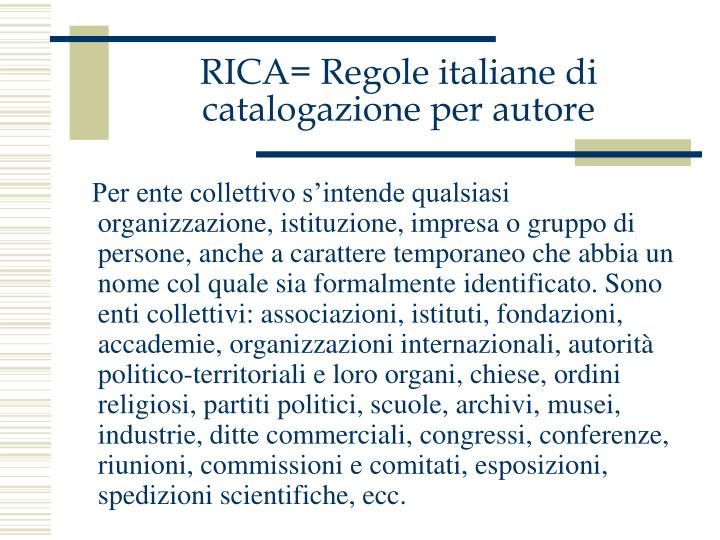 RICA= Regole italiane di catalogazione per autore