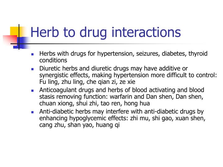 Herb to drug interactions