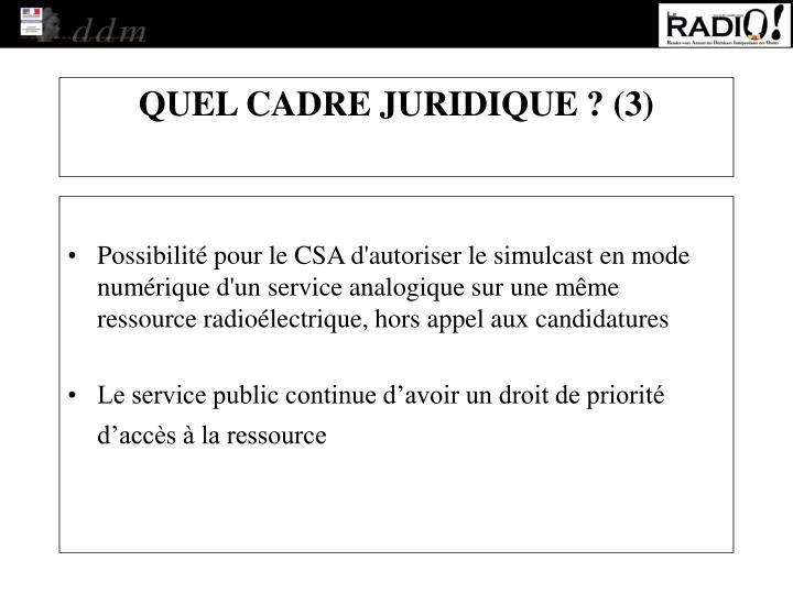 Possibilité pour le CSA d'autoriser le simulcast en mode numérique d'un service analogique sur une même ressource radioélectrique, hors appel aux candidatures