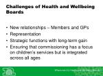 challenges of health and wellbeing boards