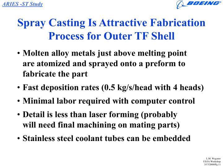 Spray Casting Is Attractive Fabrication Process for Outer TF Shell