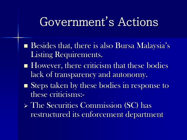 Government's Actions