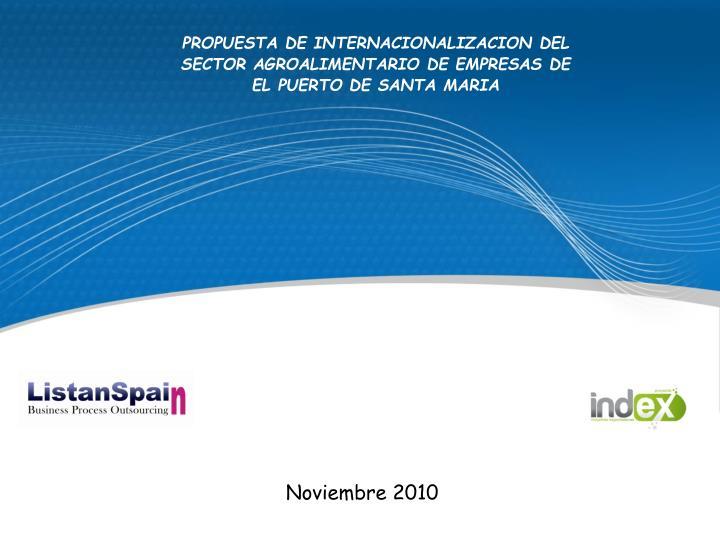PROPUESTA DE INTERNACIONALIZACION DEL