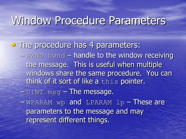 Window Procedure Parameters