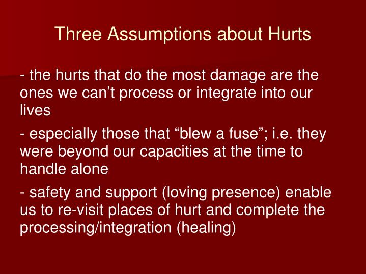 Three Assumptions about Hurts