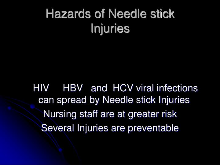 Hazards of Needle stick