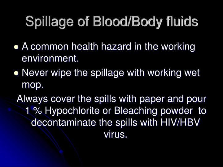 Spillage of Blood/Body fluids