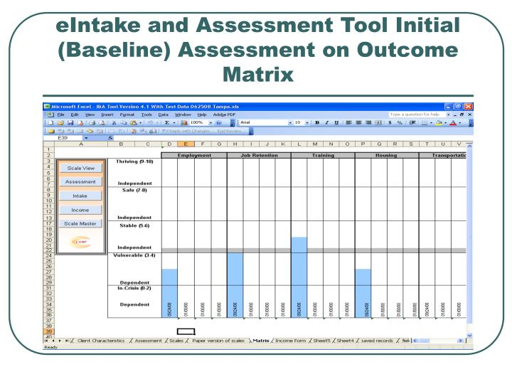 eIntake and Assessment Tool Initial (Baseline) Assessment on Outcome Matrix
