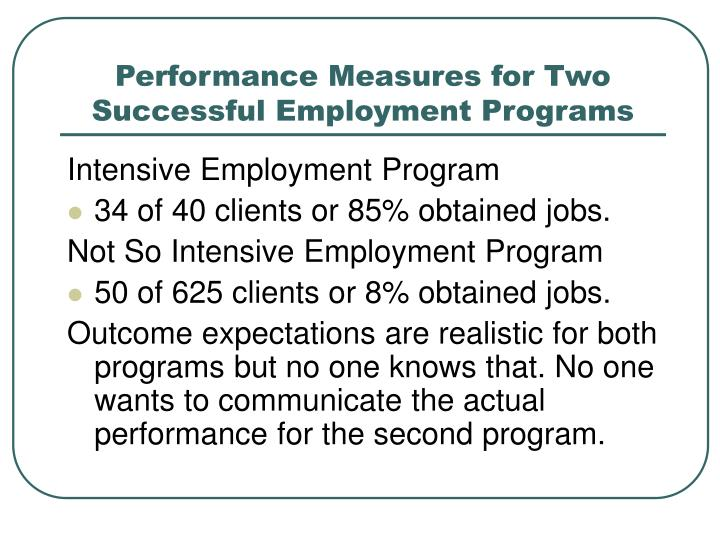 Performance Measures for Two Successful Employment Programs
