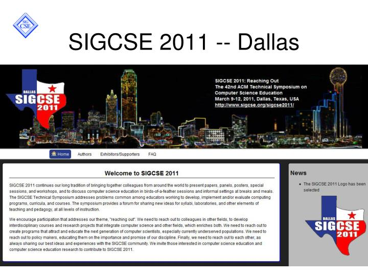 SIGCSE 2011 -- Dallas