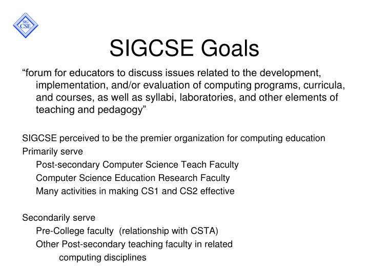 SIGCSE Goals