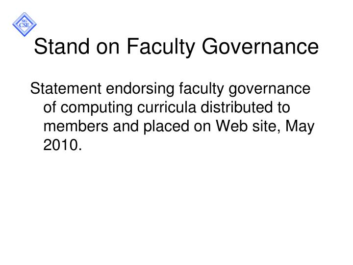 Stand on Faculty Governance