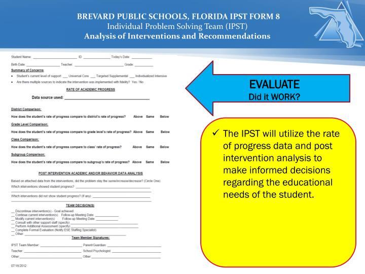BREVARD PUBLIC SCHOOLS, FLORIDA IPST FORM 8