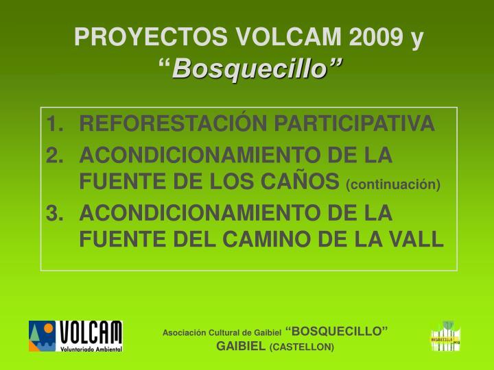 PROYECTOS VOLCAM 2009 y
