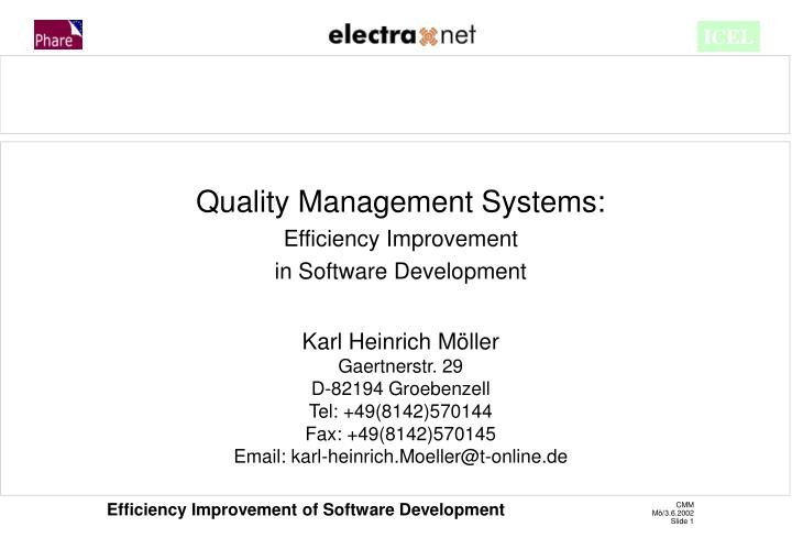 Quality Management Systems: