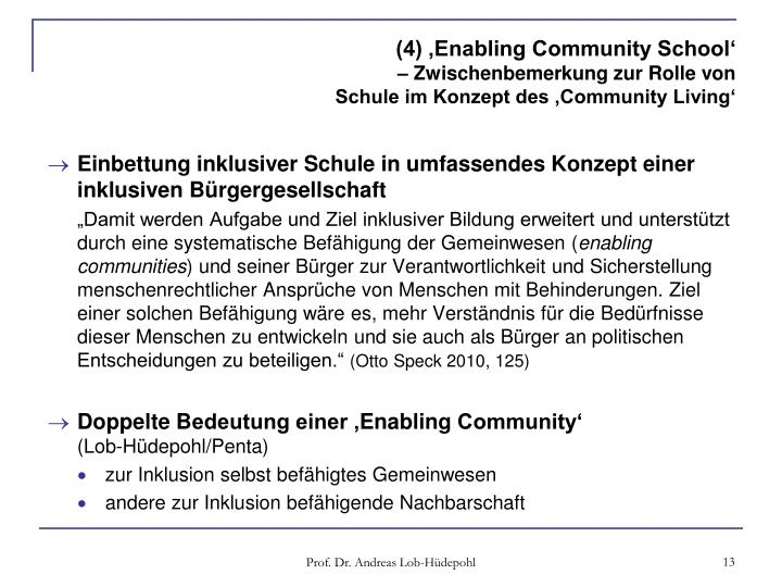 (4) 'Enabling Community School'