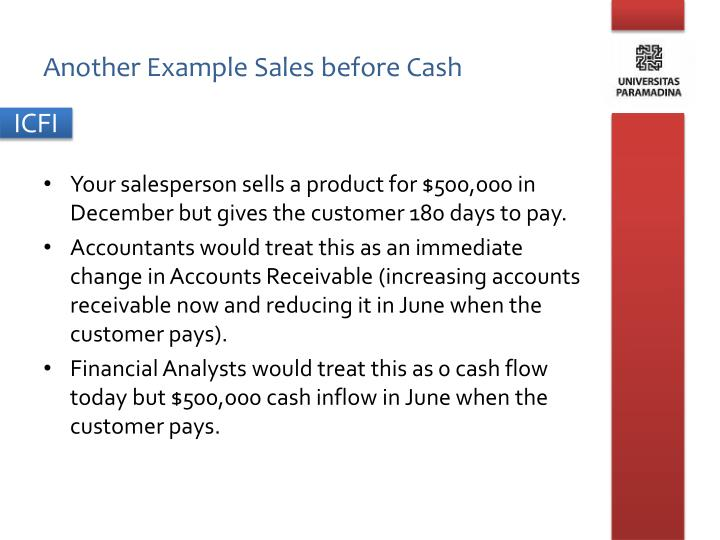 Another Example Sales before Cash