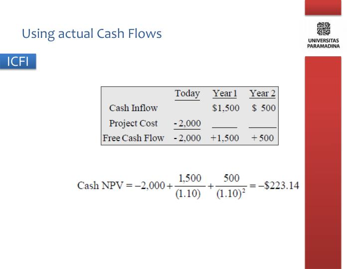 Using actual Cash Flows