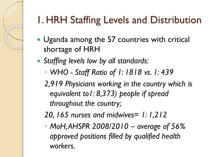 1. HRH Staffing Levels and Distribution
