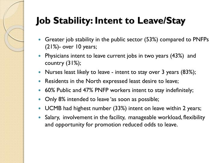 Job Stability: Intent to Leave/Stay