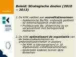 beleid strategische doelen 2010 2013