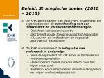 beleid strategische doelen 2010 20131