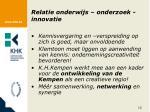 relatie onderwijs onderzoek innovatie