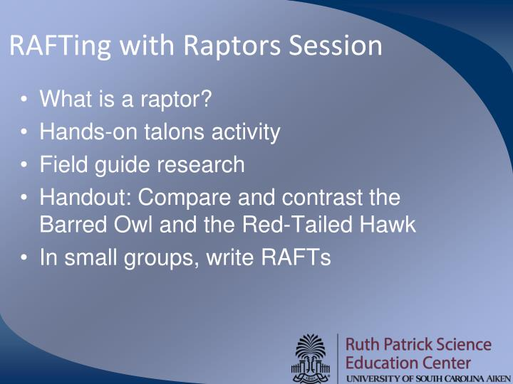 RAFTing with Raptors Session
