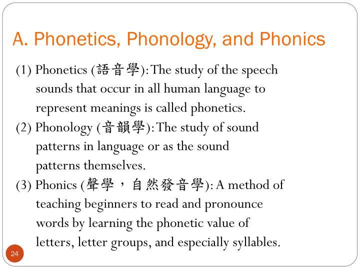 A. Phonetics, Phonology, and Phonics