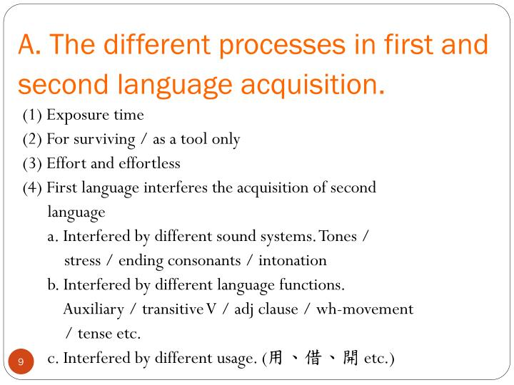A. The different processes in first and second language acquisition.