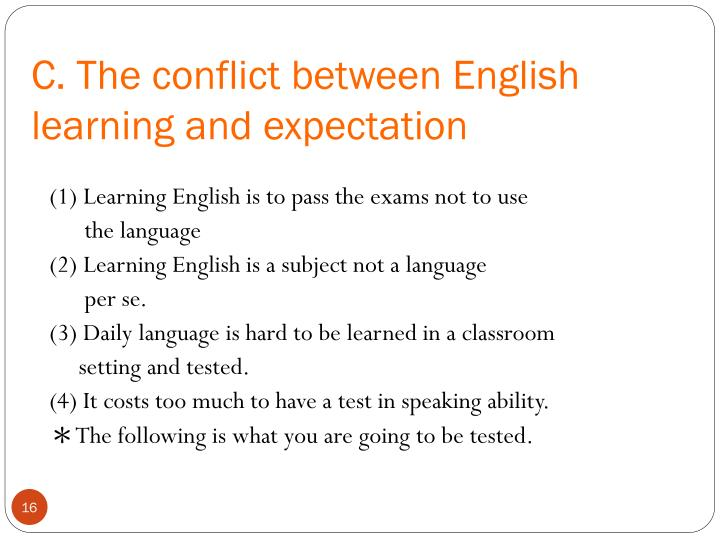 C. The conflict between English learning and expectation