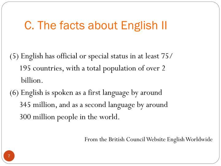C. The facts about English II