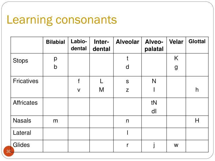 Learning consonants