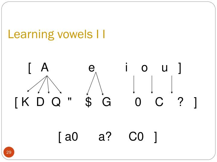 Learning vowels I