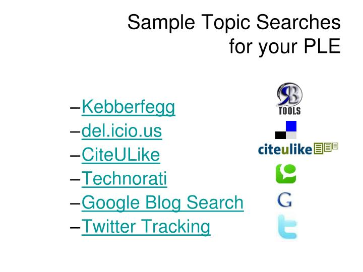 Sample Topic Searches