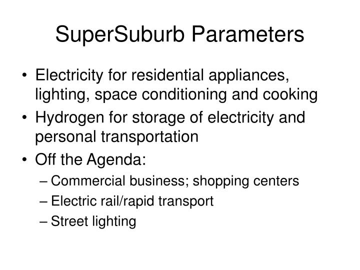 SuperSuburb Parameters