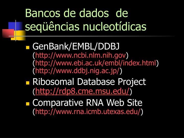Bancos de dados  de seqüências nucleotídicas