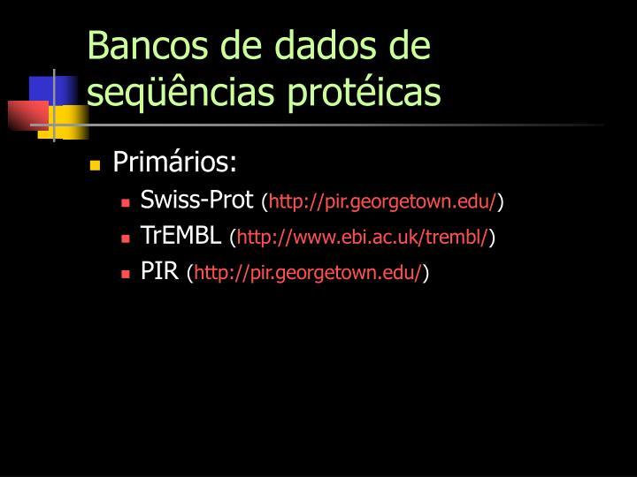 Bancos de dados de seqüências protéicas