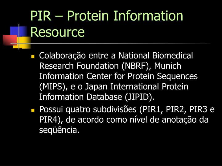 PIR – Protein Information Resource