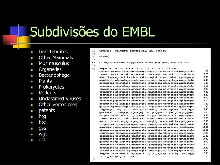 Subdivisões do EMBL