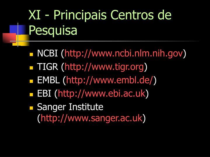 XI - Principais Centros de Pesquisa