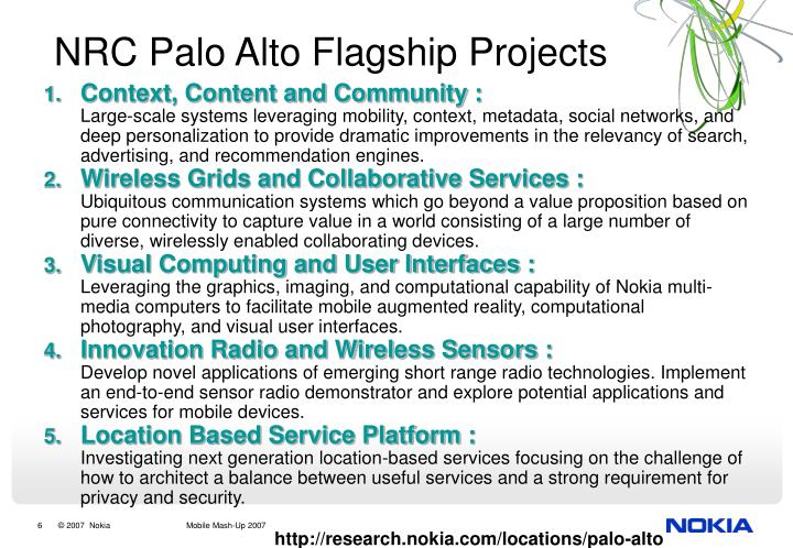 NRC Palo Alto Flagship Projects