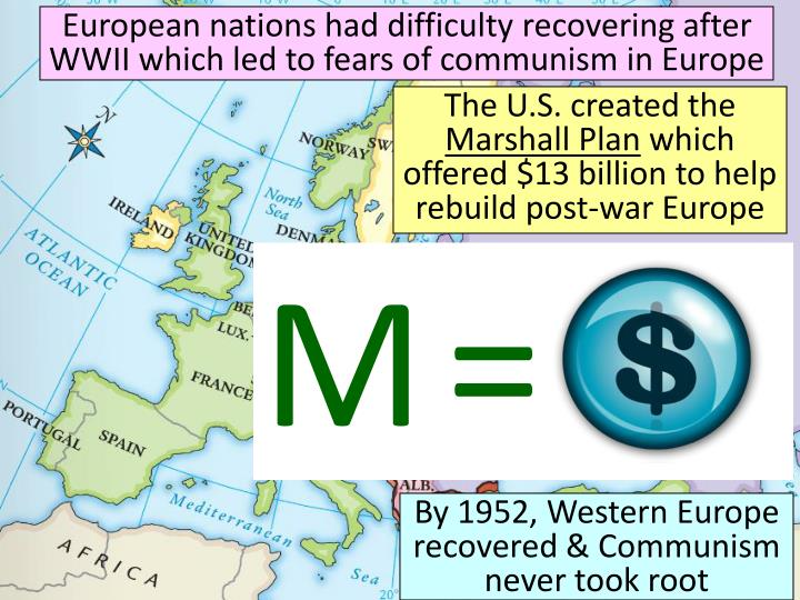 European nations had difficulty recovering after WWII which led to fears of communism in Europe