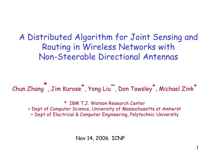 A Distributed Algorithm for Joint Sensing and Routing in Wireless Networks with