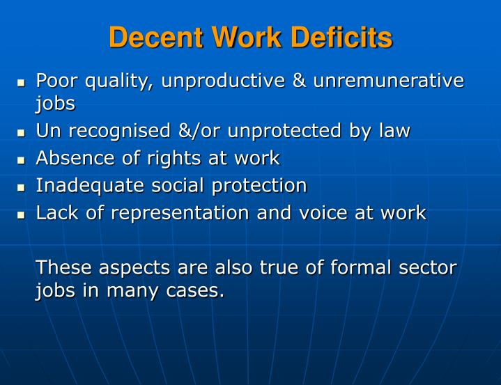 Decent Work Deficits