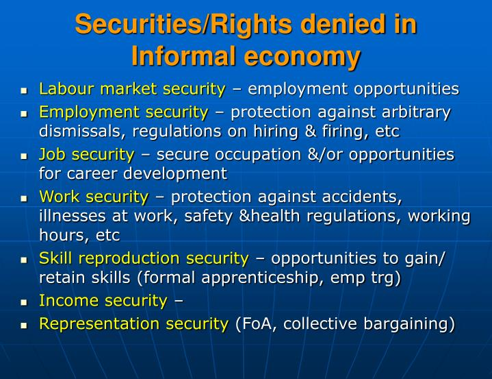 Securities/Rights denied in Informal economy