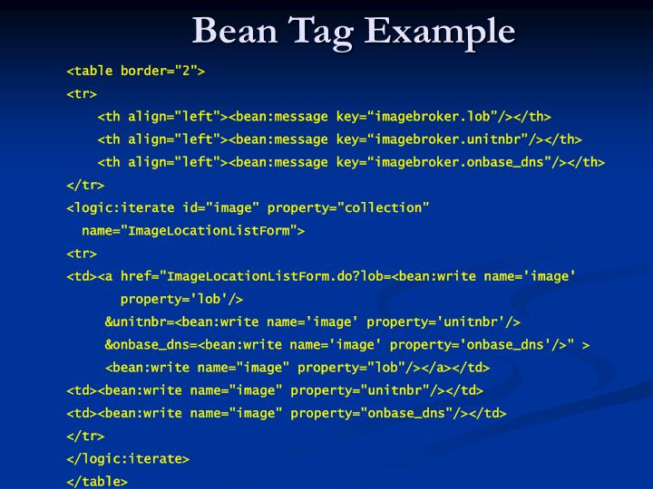 Bean Tag Example