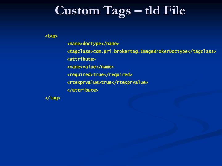 Custom Tags – tld File